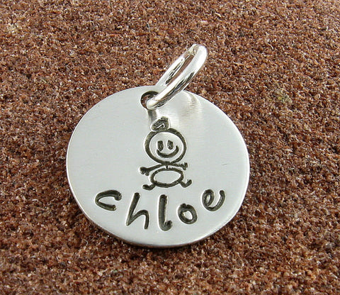 Baby Charm -Sterling Silver Hand Stamped Baby Personalized with Any Name