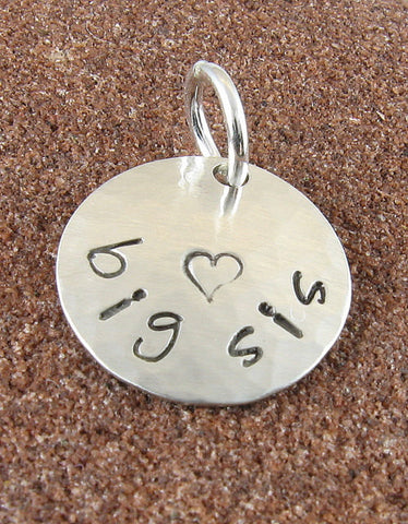 Big Sis Charm - Sterling Silver Hand Stamped with Heart