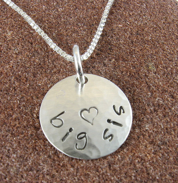 Big Sis Pendant Hand Stamped with Heart-Sterling Silver