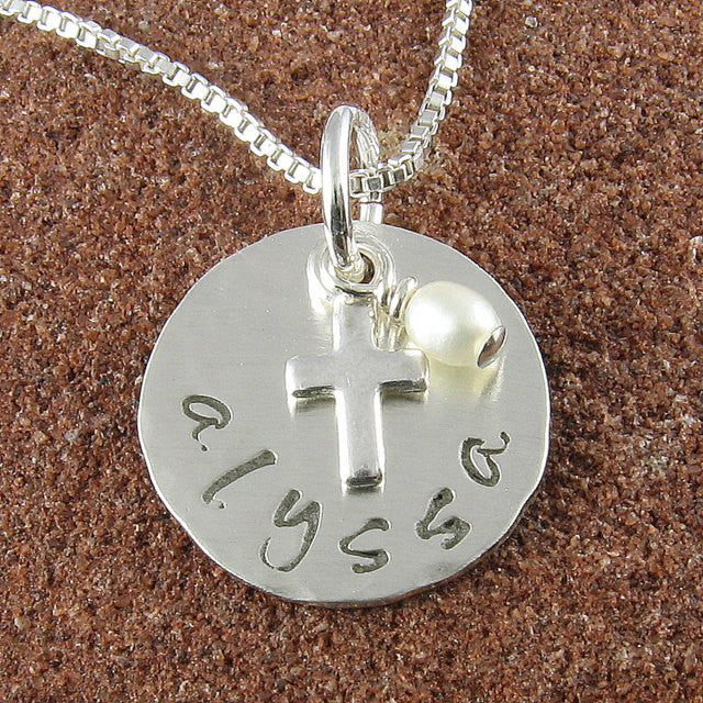 Double Sided Name and Date Sterling Silver Cross Pendant with Freshwater Pearl-Holy Communion, Baptism, Christening