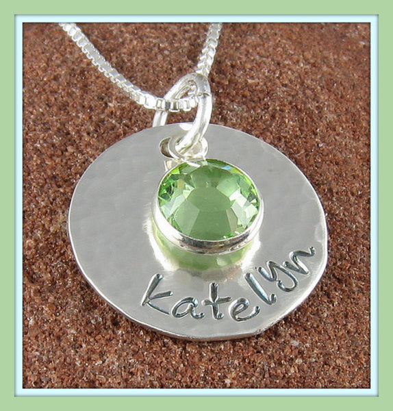 Birthstone Personalized Pendant- Hand Stamped Sterling Silver