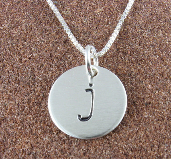 Lowercase Monogram Initial Sterling Silver Necklace