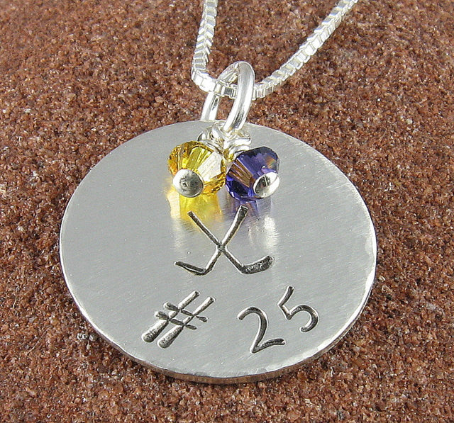 Hockey Jersey Number Pendant-Sterling Silver Hand Stamped with Hockey Sticks, Jersey Number and Team Colors