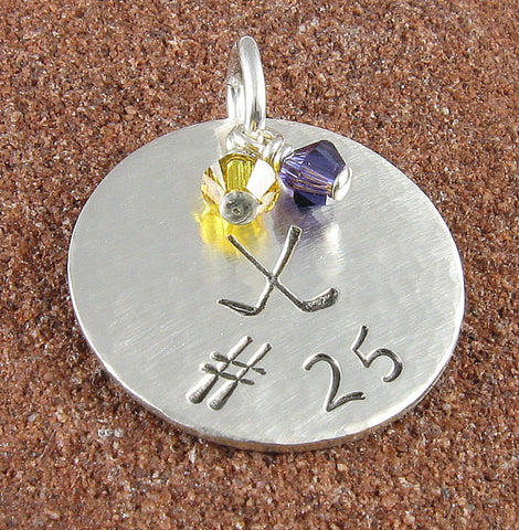 Hockey Jersey Number Sterling Silver Charm With Hockey Sticks and Team Colors