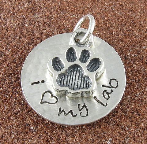 Pet Charm with Paw - Personalized Hand Stamped Sterling Silver