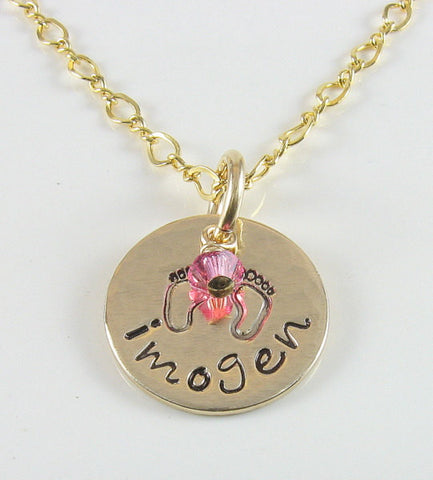14K Gold Filled Baby Footprint Pendant Personalized With Any Name and a Birthstone Crystal - chipmunk-hollow.myshopify.com