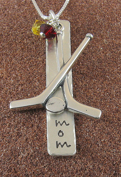 Hockey Mom Necklace, Sterling Silver Hand Stamped Hockey Pendant with Team Colors