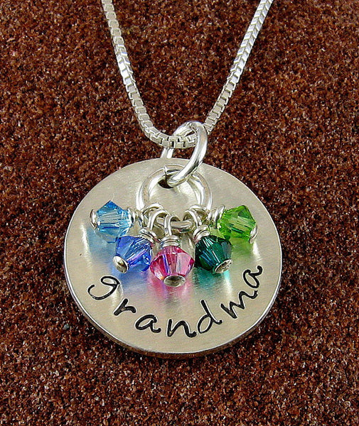 Grandmother Necklace with Birthstone Crystals-Sterling Silver with Grandchildren's Birthstones