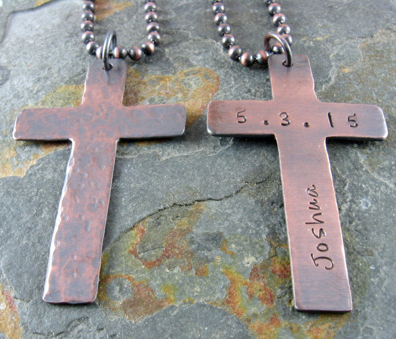 Rugged Cross Necklace,Personalized Hammered Copper Cross,Any Name and Date,First Holy Communion,Confirmation,Baptism, Christening