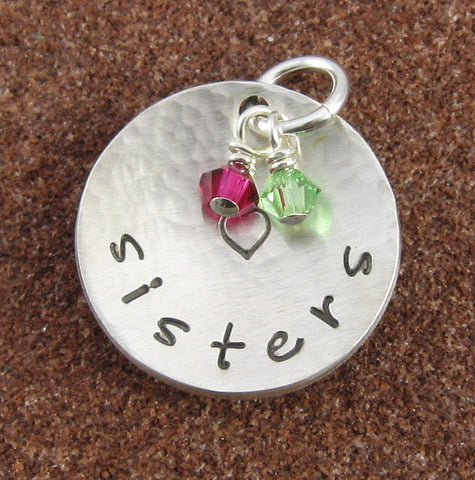 Sisters Sterling Silver Charm with Swarovski Birthstone Crystals