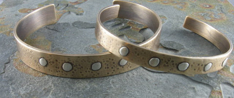 Bronze Cuff Bracelet with Sterling Silver Rivets, Hammered, Antiqued