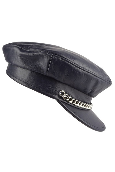 100% Cowhide GenuineLeather Sailor Cap, Made in USA