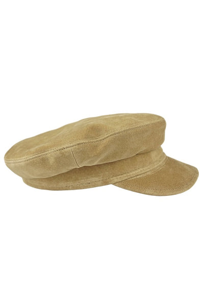 100% Suede Pigskin Genuine Leather Sailor Cap, Made in USA