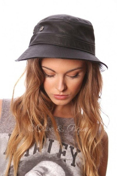 100% Genuine Leather Bucket Hat, Made in USA