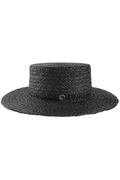 Raffia Boater Hat with Button Detail