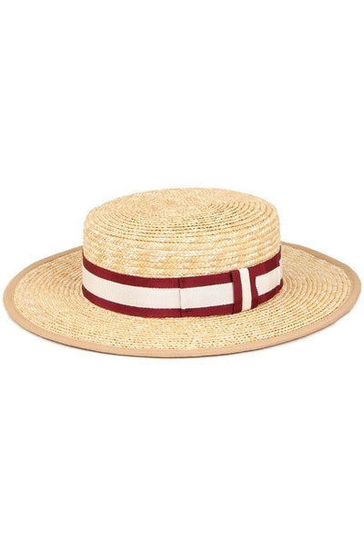 Straw Boater Hat With Stripe Band