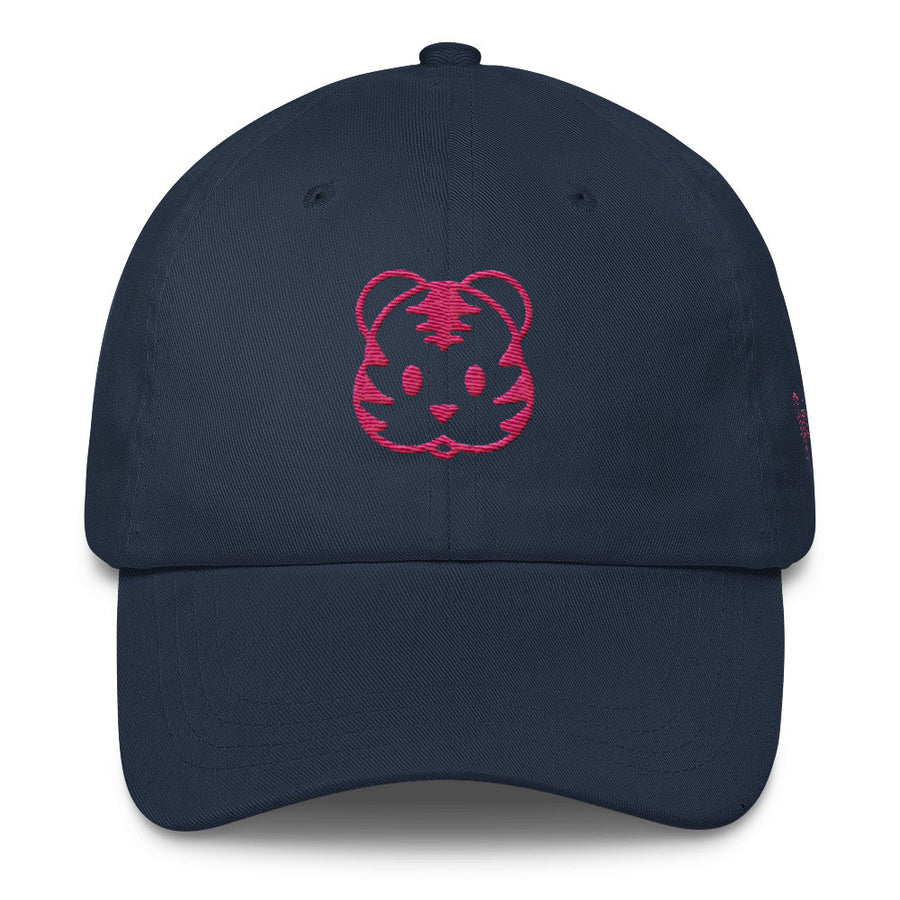 Dark Blue Dad Cap with Pink Tigris Logo Preppy hat like vineyard vines