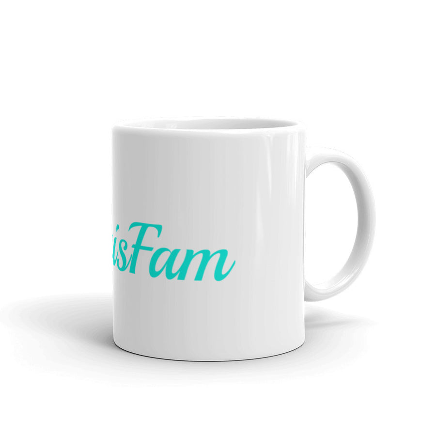 #TigrisFam White Mug with teal letters Save the tigers