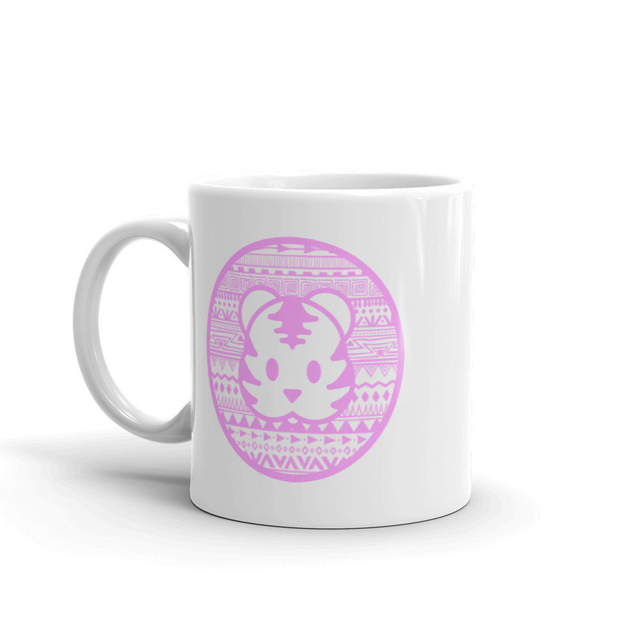 Pink Tribal 11 oz coffee mug for tiger lovers