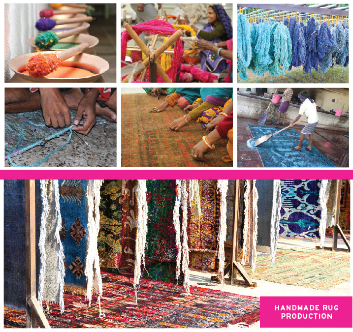 Sari Silk rug production