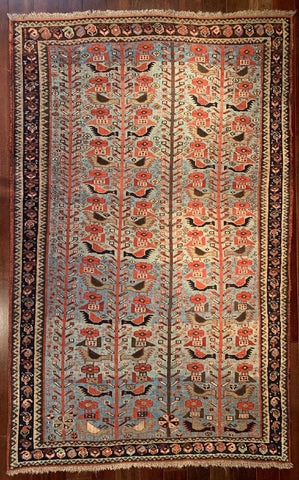 "8334 Mid 19th Century Khamseh Bird Rug 3'10"" x 6'"