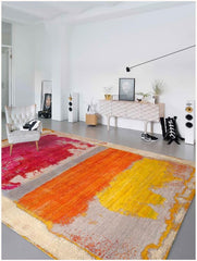 RS-0108 Waterlily NO 08 in Magenta, Copper, and Yellow in 10' x 14', by Rug Star