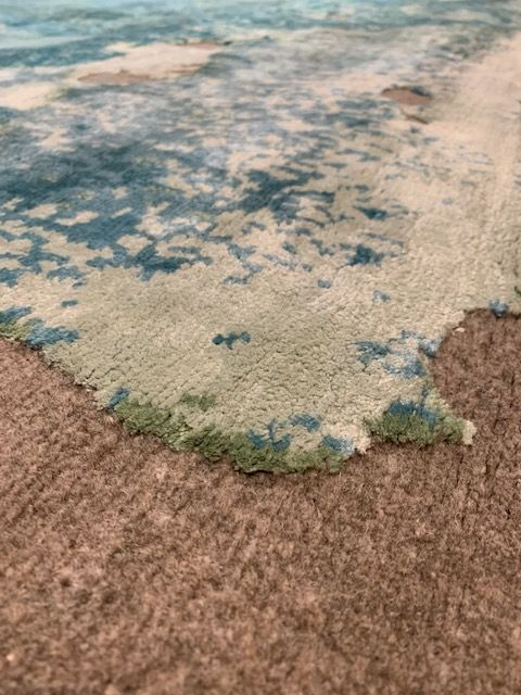 "RS-0130 MonoStereo in Aquablue on Natural Grey by Rug Star 8'3"" x 9'11"""