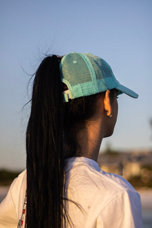 Ladies Aqua Ponytail Cap
