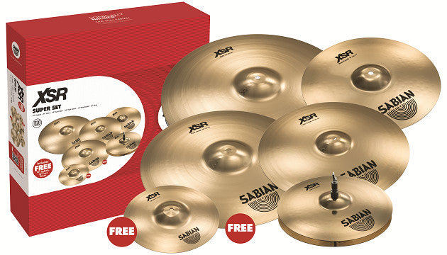 "Sabian XSR Super Box Set with free 10"" splash and free 18"" crash"