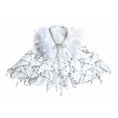 Adel Short Feather Cape - Silver