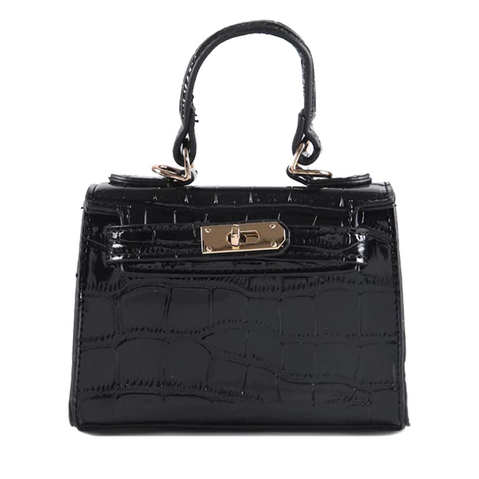 Shiny Crocodile Mini Bag - Black