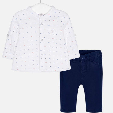 2-piece Mao shirt + Twill trouser set - Royal