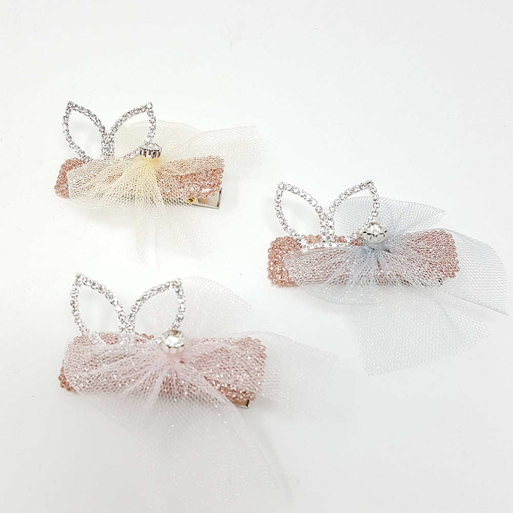 Bunny with Diamonte Hair Clip