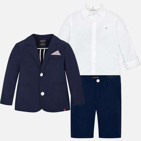 3-piece tailored seersucker burmudas Suit - Navy
