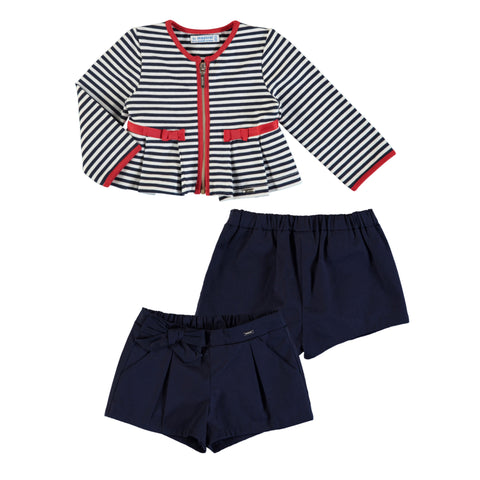 2pc Set - Striped Jacket w/ Satin Short
