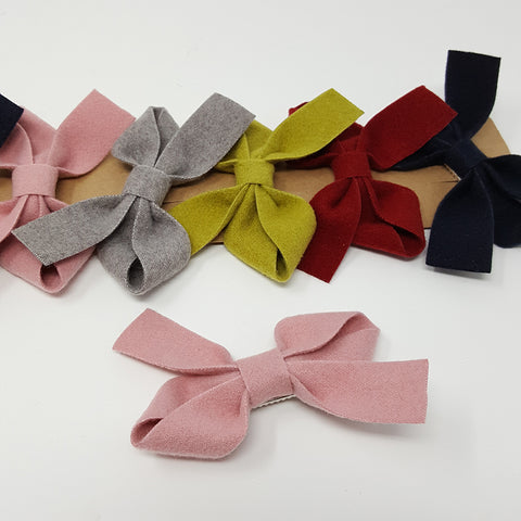Bow Hair Clip - Wool Solid