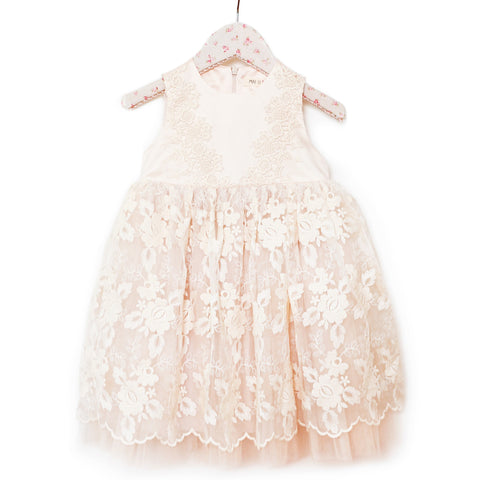 Crochet Babydoll Dress - Soft Blush