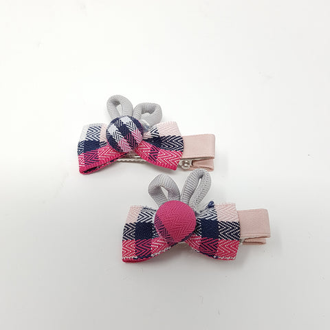 Check Bow Hair Clips (1 pair)