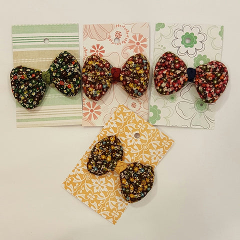 Floral Padded Bow Hair Clip
