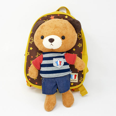 Harness backpack with detachable plush toy- Bear Brown