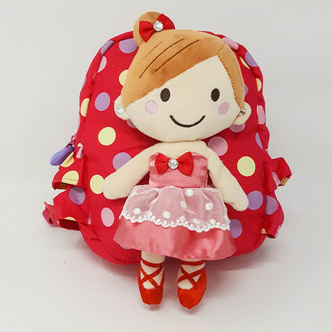Harness backpack with detachable Doll - Hot pink