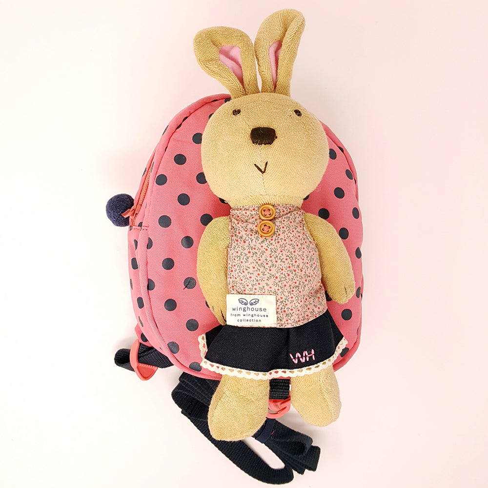 Harness backpack with detachable plush toy- Pink Dot Bunny