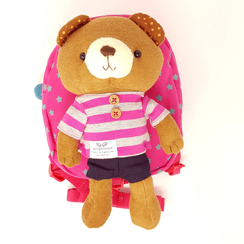 Harness backpack with detachable plush toy- Pink Star Bear