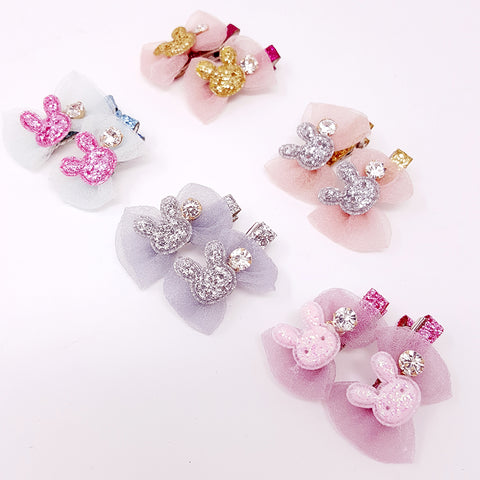 Sparkle Bunny Clips (set of 2)