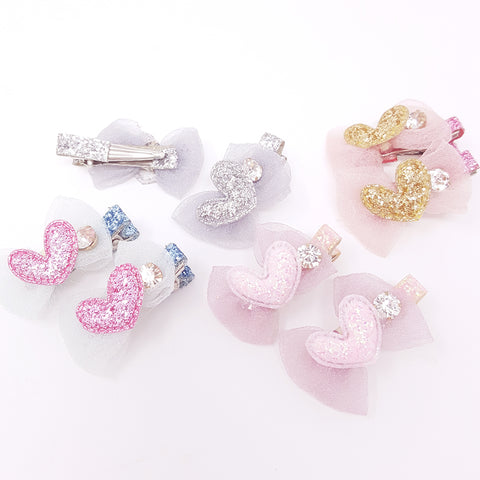 Sparkle Heart Clips (set of 2)