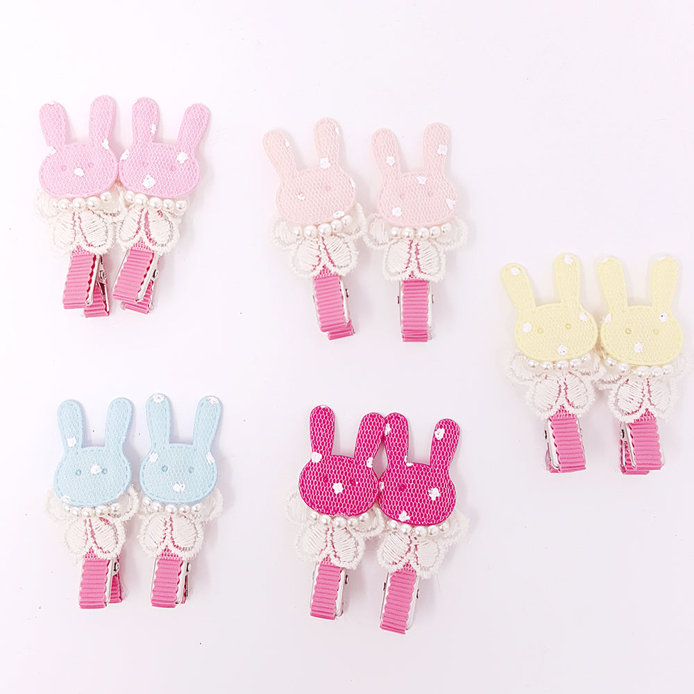 Lace Bunny with pearls hair clip (set of 2)