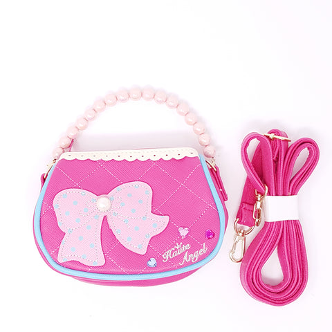 Girl's Handbag- Polka dot Bow Hot pink