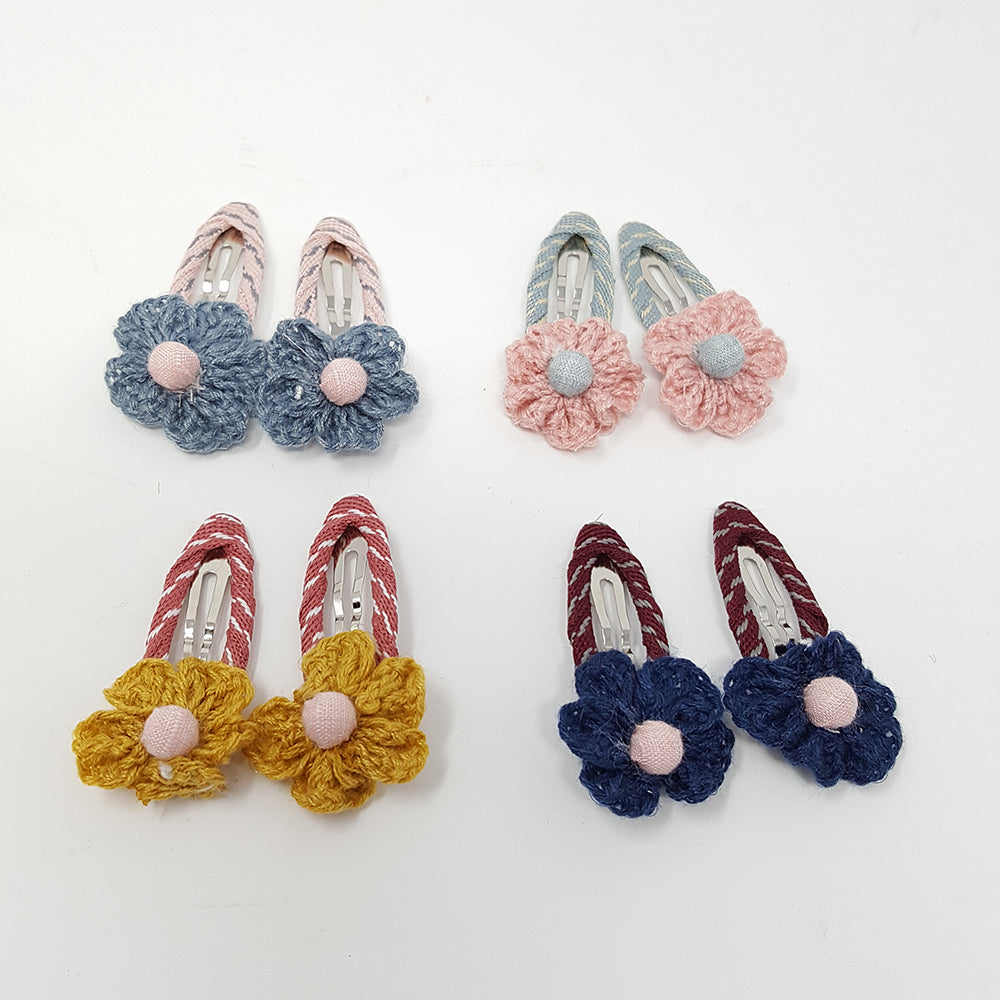 Crochet Flower Clips (1 pair)