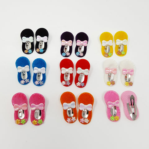 Baby Shoes Velour Hair Clips (1 pair)