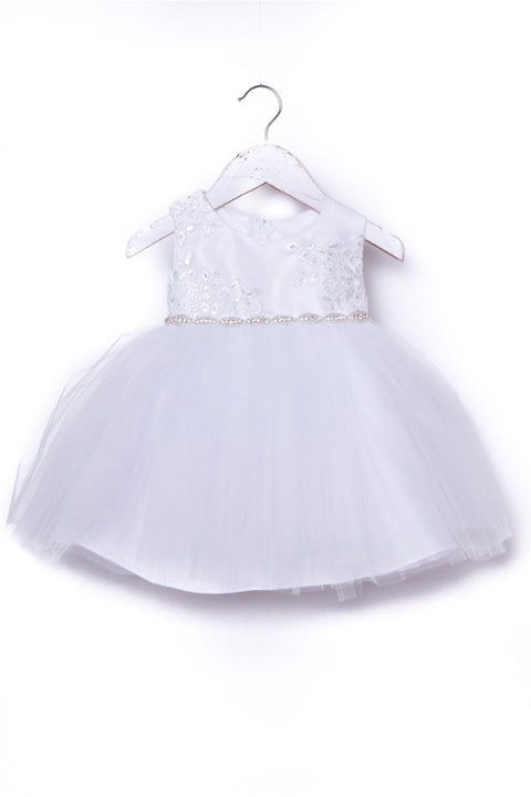 White baby dress with rhine waist